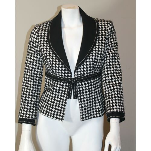 Vtg Alberto Makali Sz 6 Med Black Checkered White
