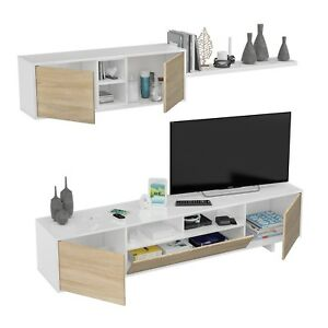 Mueble comedor, mueble de TV para salon, Blanco brillo y Roble ...
