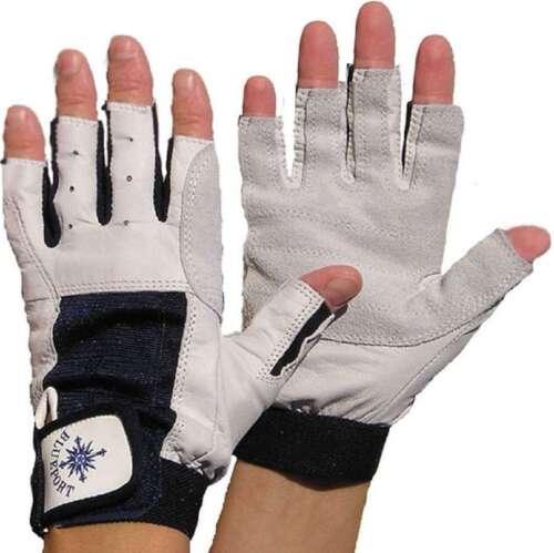 M fingerlos Roadiehandschuhe 2 Paar BluePort Segelhandschuhe aus Rindsleder Gr Bekleidung Handschuhe