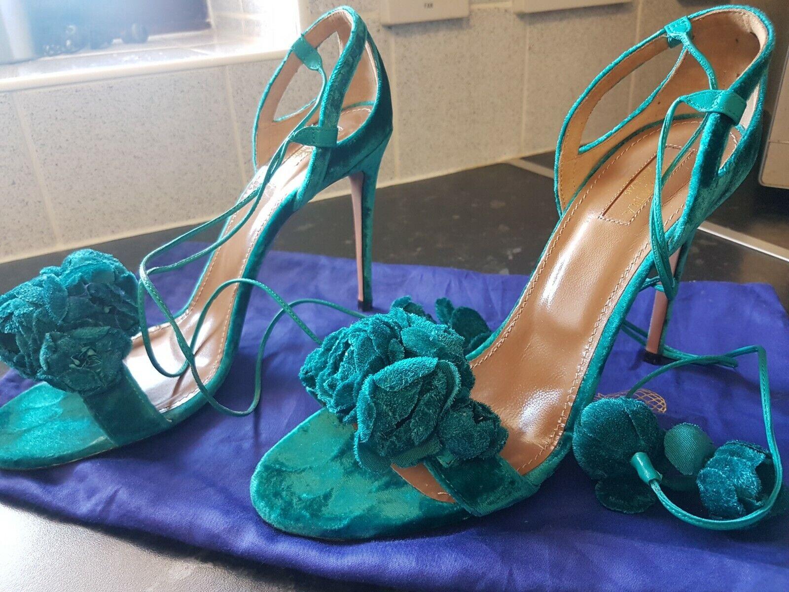 Aquazzura verde fiore selvatico  scamosciato sandal Regno Unito 8  consegna rapida
