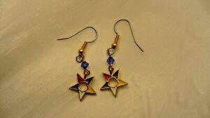 Eastern-Star-coloured-hollow-star-blue-crystal-glass-stone-earrings-NEW-dangle