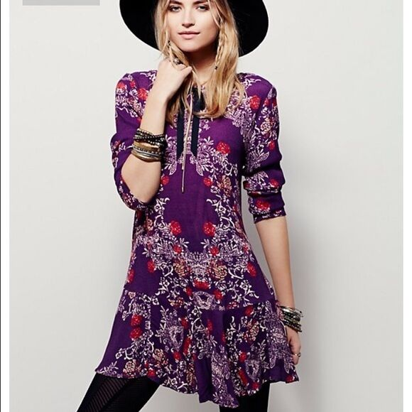 NWT FREE PEOPLE SzS SMOOTH TALKER FLORAL PRINT TUNIC DRESS PULMBERRY