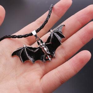 Charm Gothic Enamel Bat Pendant Necklace Halloween Vintage Punk Rope Jewelry
