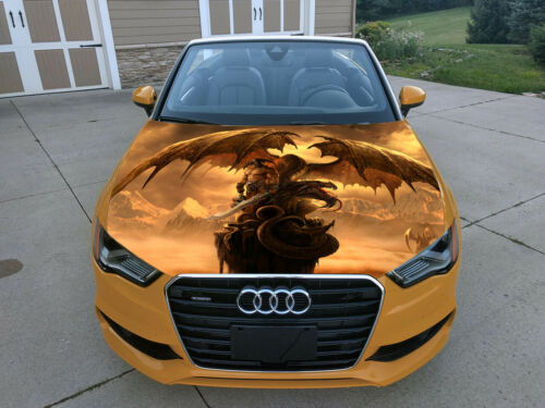 Car Hood Wrap Full Color Graphics Sticker Dragon and Warrior Vinyl Fantasy Decal