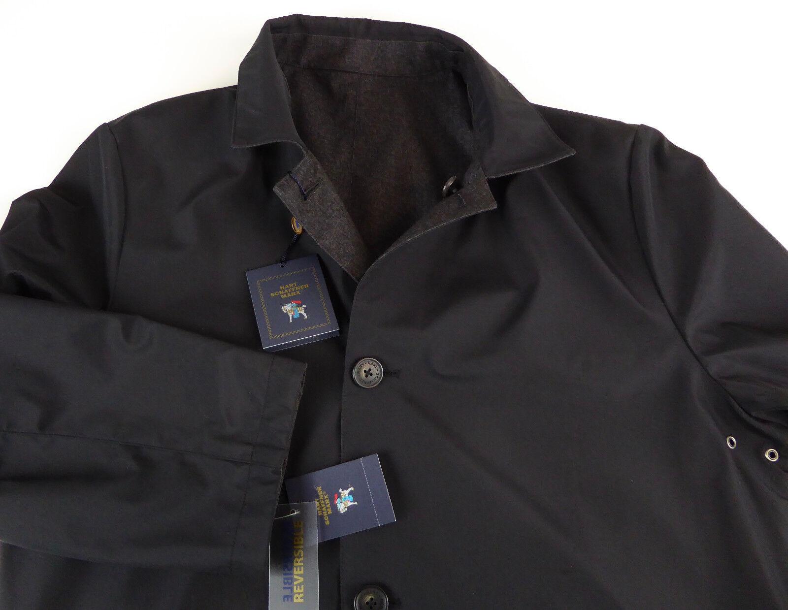 Hart Schaffner Marx Reversible Overcoat Rain Coat Water Stain Resistant NWT 395