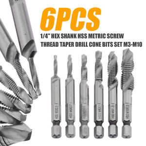 6pc 1//4/'/' Combination Drill Tap Bits HSS Metric Set Countersink Tapping M3-M10