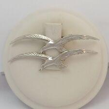 Vintage Sterling Silver Seagulls in Flight Pin Brooch  6.5gr
