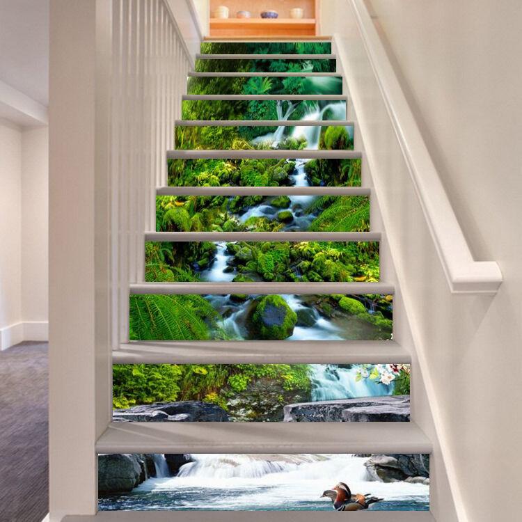 3D Lange Fluss 03 Stair Risers Dekoration Fototapete Vinyl Aufkleber Tapete DE