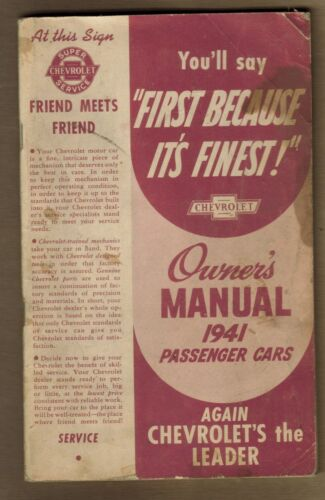 Vintage 1941 Chevrolet Passenger Cars Owners Manual & Breaking In Your New Car