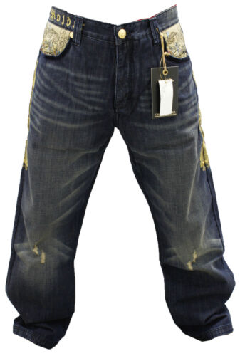 NWT AUTHENTIC MEN/'S CROWN HOLDER MELLOW BLUE AND GOLD COLOR JEANS HR58731