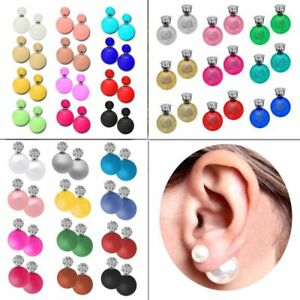 Perlen-Ohrringe-Shamballa-Ohrstecker-Doppel-Kugel-Damen-Strass-Krone-Ohrring