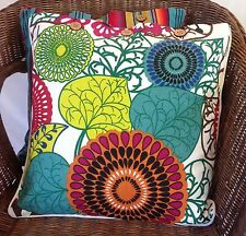 Cushion Cover Abstract Floral Stripe Green Blue Cotton Linen Pillow Case x 2 New