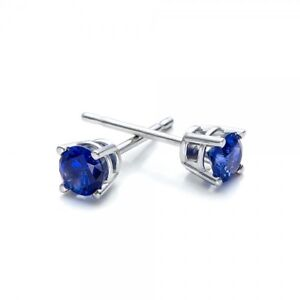 2-ct-Beautiful-Blue-Sapphire-Stud-Earrings-Bezel-set-White-Gold-Plated-ITALY