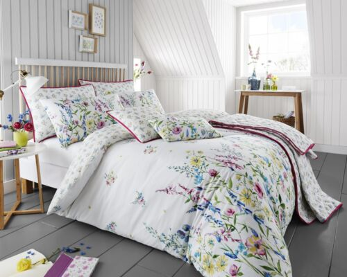 Girls Pink /& Blue Floral Meadow Flower Duvet Cover Set Cushion or Throw