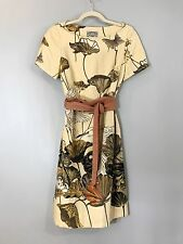 ANTHROPOLOGIE Floreat Sheath Dress Asian Bird Print Obi Belt SZ 4