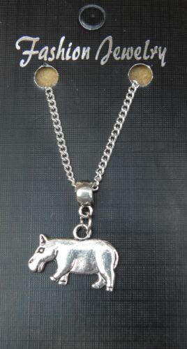 """18 /""""o de 24/"""" Pulgadas Cadena Collar /& Hipopótamo encanto colgante amantes de los animales Hippo"""