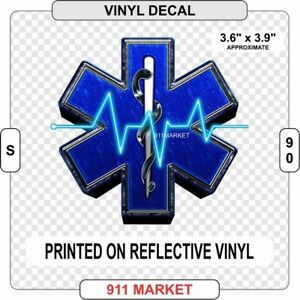 Star-of-Life-Reflective-Decal-EMT-Paramedic-Ambulance-Car-Truck-Sticker-S-90