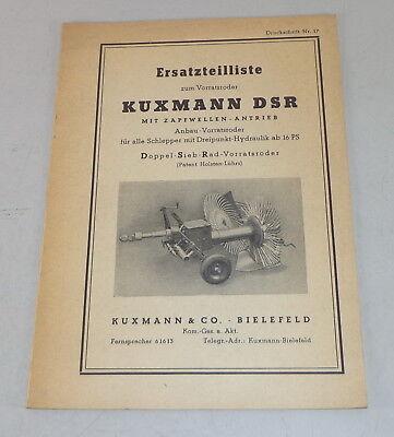 Business, Office & Industrial Parts Catalog/spare Parts List Kuxmann Dsr Extension Vorratsroder Refreshment Tractor Manuals & Publications