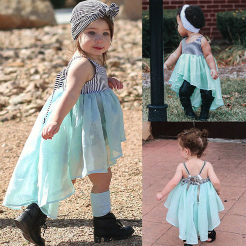 Pretty Lovely Toddlers bébé fille à rayures bretelles Backless robe princesse Vêtements