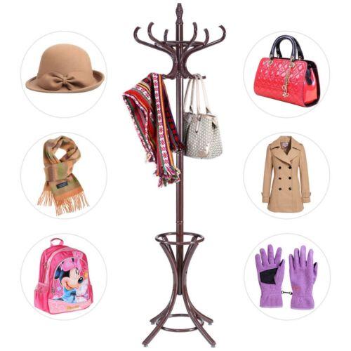 Wooden Standing Hat Coat Rack Jacket Bag Hanging Tree 12 Hooks w//Umbrella Stand