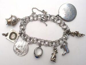 Image Is Loading Sterling Silver Charm Bracelet Triple Link Vintage Majorette