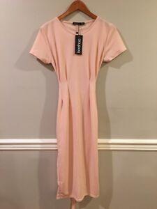 e77517c71ba1 Boohoo Womens Eva Pleat Front Belted Tailored Midi Dress Nude Size ...