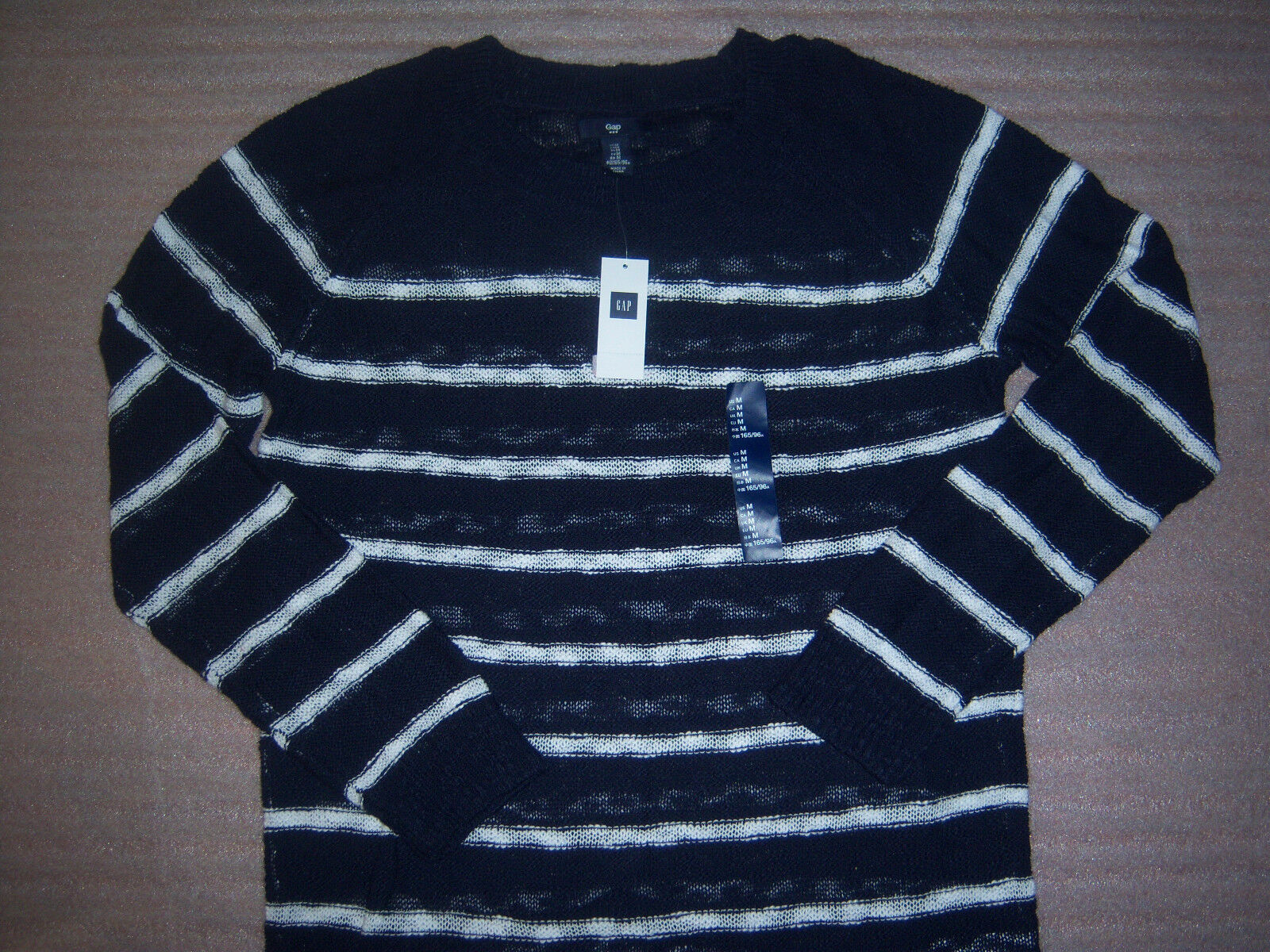 Gap Brand Dark bluee and White Striped Womens Sweater Size M NEW