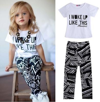 Traje De Nina Me Desperte Ropa Para Bebes 2 Piezas Blusa Pantalon 1 A 6 Anos Ebay