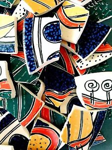 "WHIMSICAL ""VIA AURELIA"" by WAECHTERSBACH MOSAIC TILES 56 RIMS 45 CREAM FILLERS"