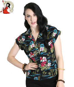 HELL BUNNY BALI tiger SHIRT 50s style rockabilly JUNGLE hibiscus TOP XS-4XL