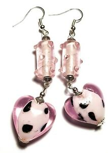 Long-Pink-Heart-Earrings-Drop-Dangle-Hook-Glass-Bead-Boho-Artisan-Tibetan-Style
