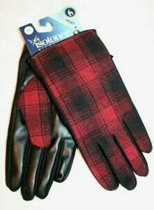 Isotoner-Signature-Men-039-s-Plaid-Packable-SmarTouch-Gloves-Red-Black-L-NEW