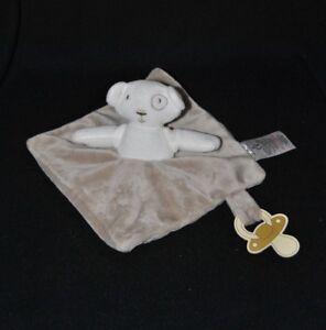 Doudou plat ours blanc beige GRAIN DE BLE Ours Plat Semi plat