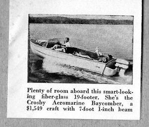 1958 Magazine Photo Crosby Aeromarine Baycomber 19' Boats