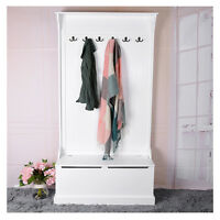 Hallway Bench And Coat Hook Shoe Storage Wooden Cabinet Home Furniture Wardrobe