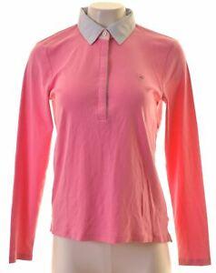 GANT-Womens-Polo-Shirt-Long-Sleeve-UK-14-Large-Pink-Cotton-MH08