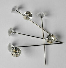 100 Clear Gem Diamond Cut 5cm Pins Diamante Bling for  Bouquets Wedding Flowers