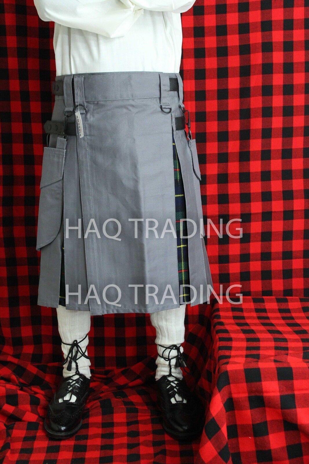 Hybrid Kilt grau & MacLeod of Harris Tartan 30  to 48  waist Größe available.