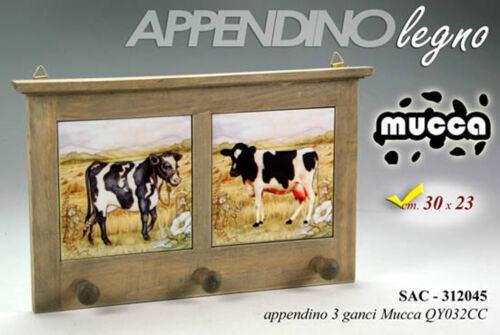Serie arredo decorativa per cucina in legno e mattonelle decoro mucca