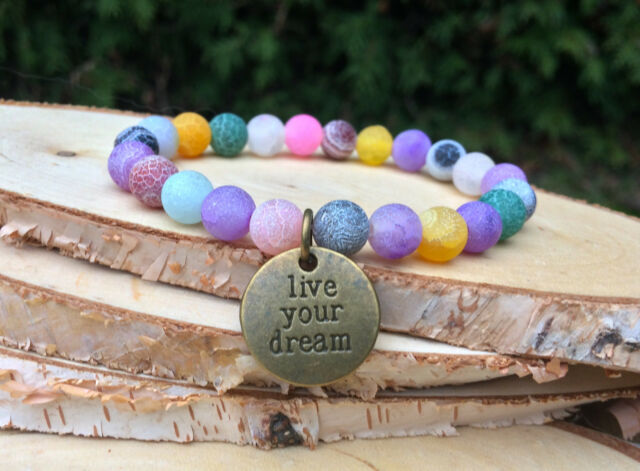 Live your Dream Armband Achat Bunt Bronze Mala Armband