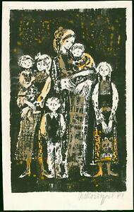Unleserlich-signiert-034-Bulgarische-Familie-034-1981-Farb-Lithografie