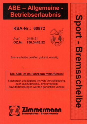 BMW E46 316i 318d 318i 320i ZIMMERMANN SPORT BREMSEN GELOCHTE SCHEIBEN+BELÄGE