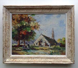 Tableau-Ancien-Post-Impressionnisme-Bigoudenes-Eglise-BRETAGNE-Huile-signee