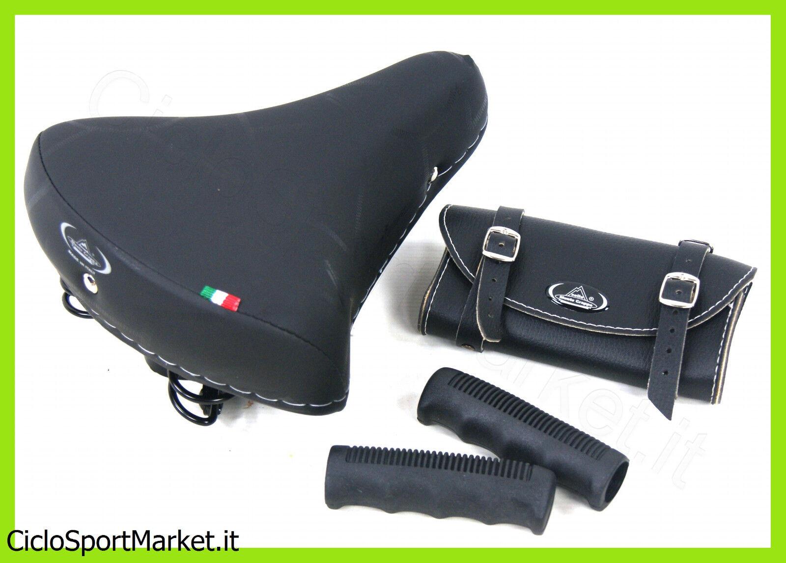 Sella MONTEGRAPPA Molle black + Manopole + Borsello  Bici City Bike - Graziella