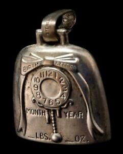 Vintage Webster Sterling Silver Cowbell Baby Rattle Teething Ring BIRTH RECORD