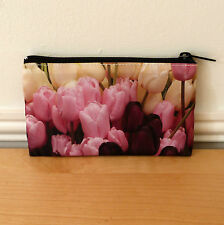 Makeup Bag Cosmetic Bag Small Tulips Flower Handmade Ladies Travel Pouch