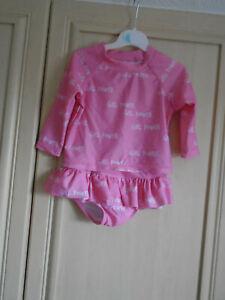 Baby Girls 2pc Ombrelle Ensemble Bikini En Rose Pâle âge 1 An-afficher Le Titre D'origine Handicap Structurel