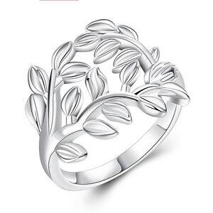 Women-Lady-Cubic-Zirconia-Silver-Hollow-Leaf-Rings-Size-7-8