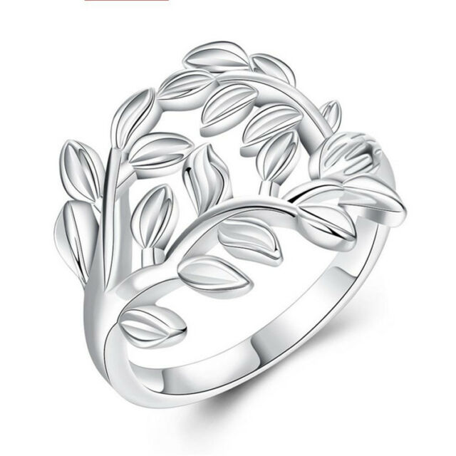 Women Lady Cubic Zirconia Silver Hollow Leaf Rings Size 7 8