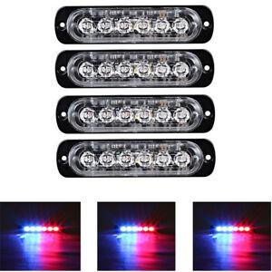 4x-6LED-Car-Vehicle-Strobe-Flash-Light-Emergency-Warning-Flashing-Lamp-Blue-Red